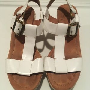 Lucky Brand white leather, wedge sandal